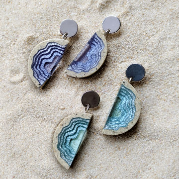 Inlet Blue Resin Statement Earrings