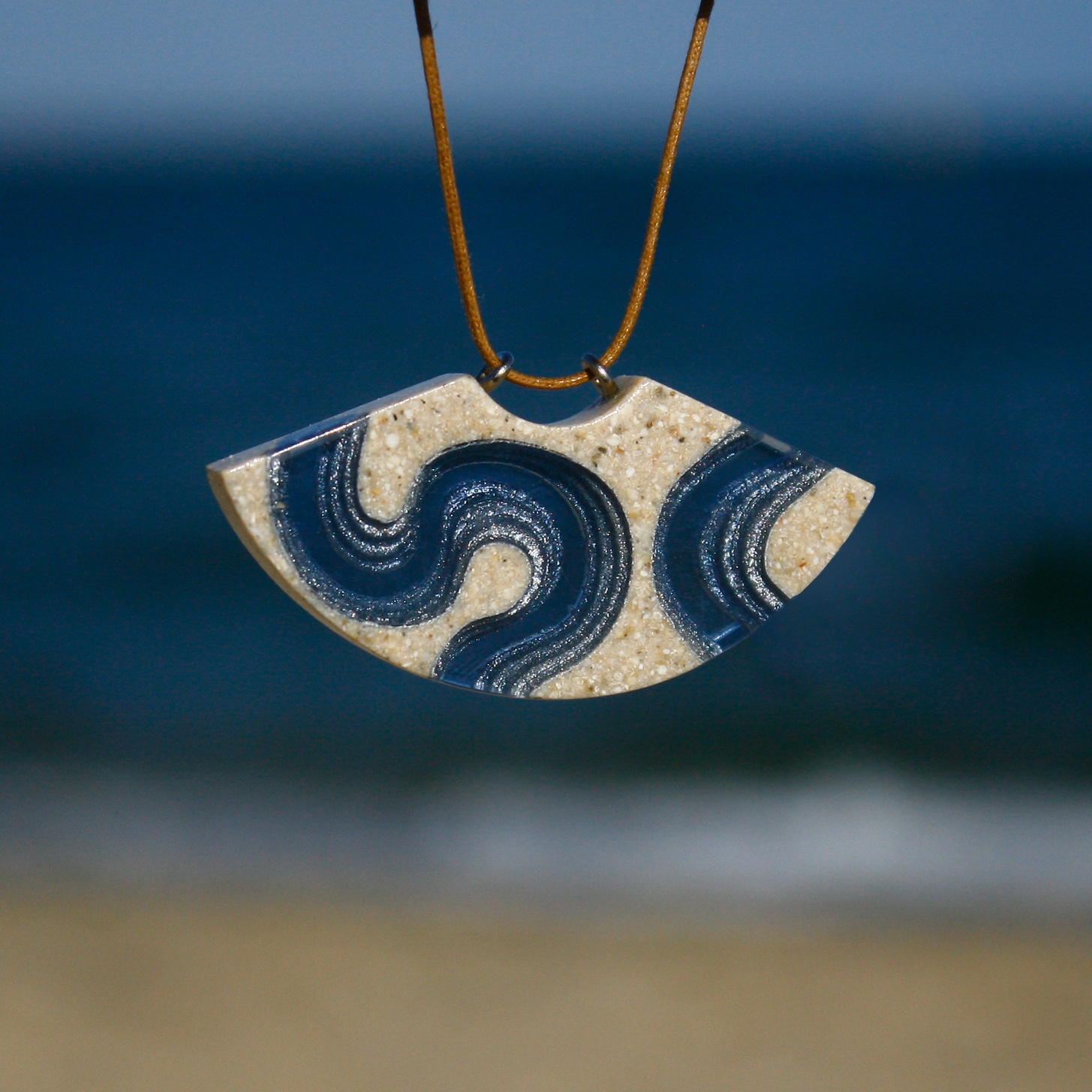Waterway beach necklace with blue background