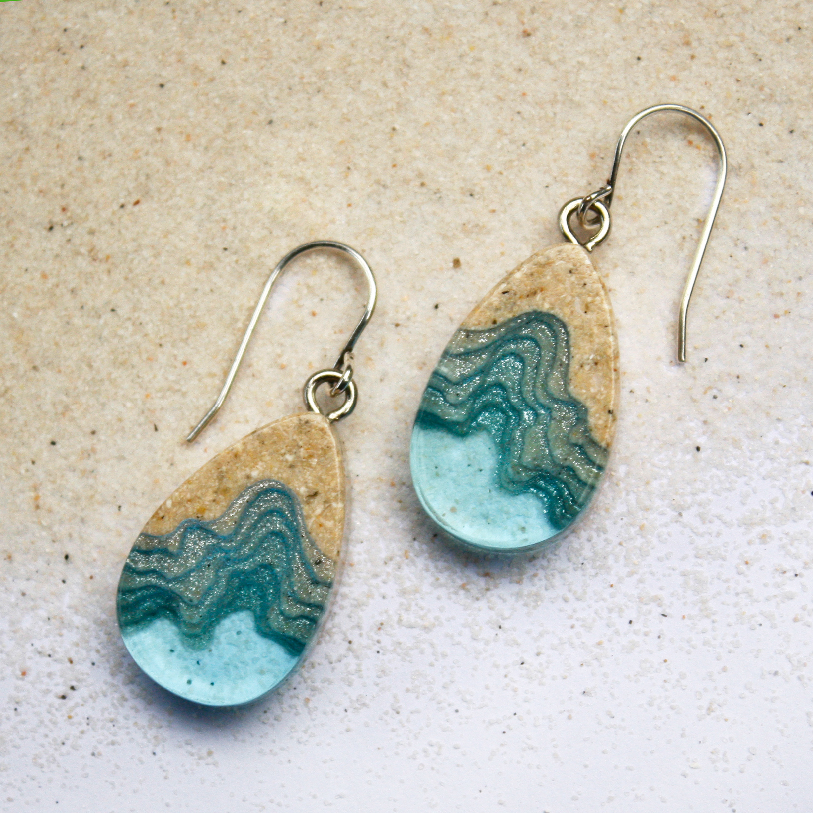 Seashore beach sand and resin dangle earrings