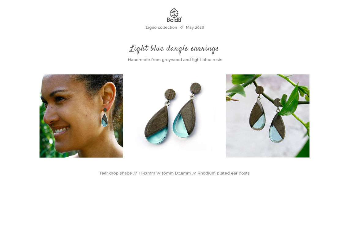 Wholesale jewellery catalogue - Wood and resin dangle earrings in light blue