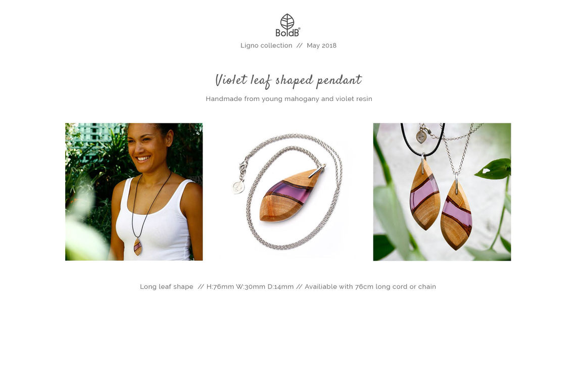 Wholesale jewellery catalogue - Long wood and resin pendant necklace in violet