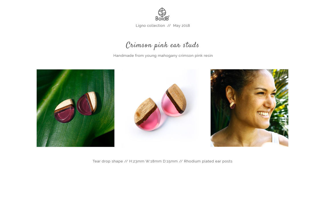Wholesale jewellery catalogue - Wood and resin stud earrings in crimson pink