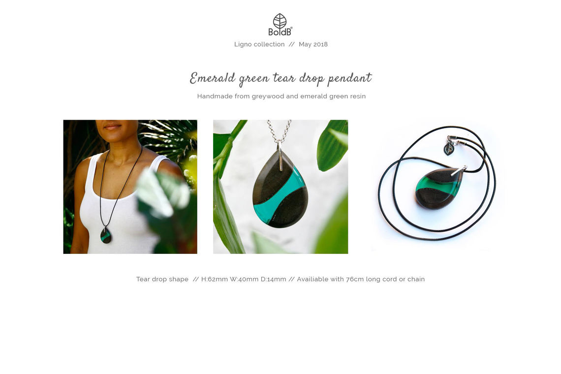 Wholesale jewellery catalogue - Wood and resin teardrop pendant in emerald green