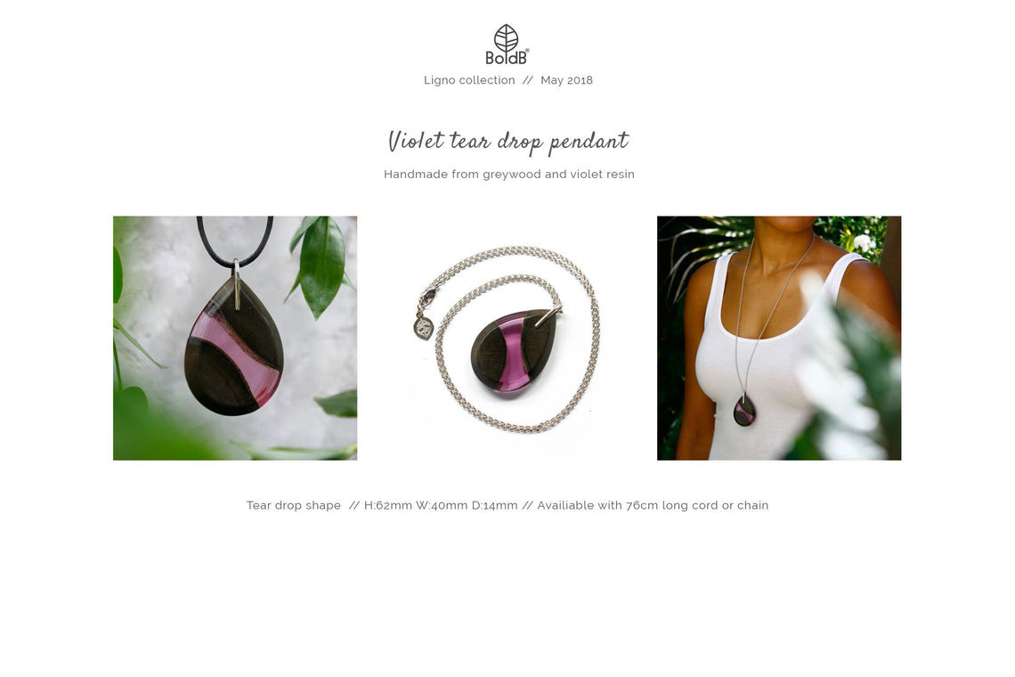 Wholesale jewellery catalogue - Wood and resin teardrop pendant in violet