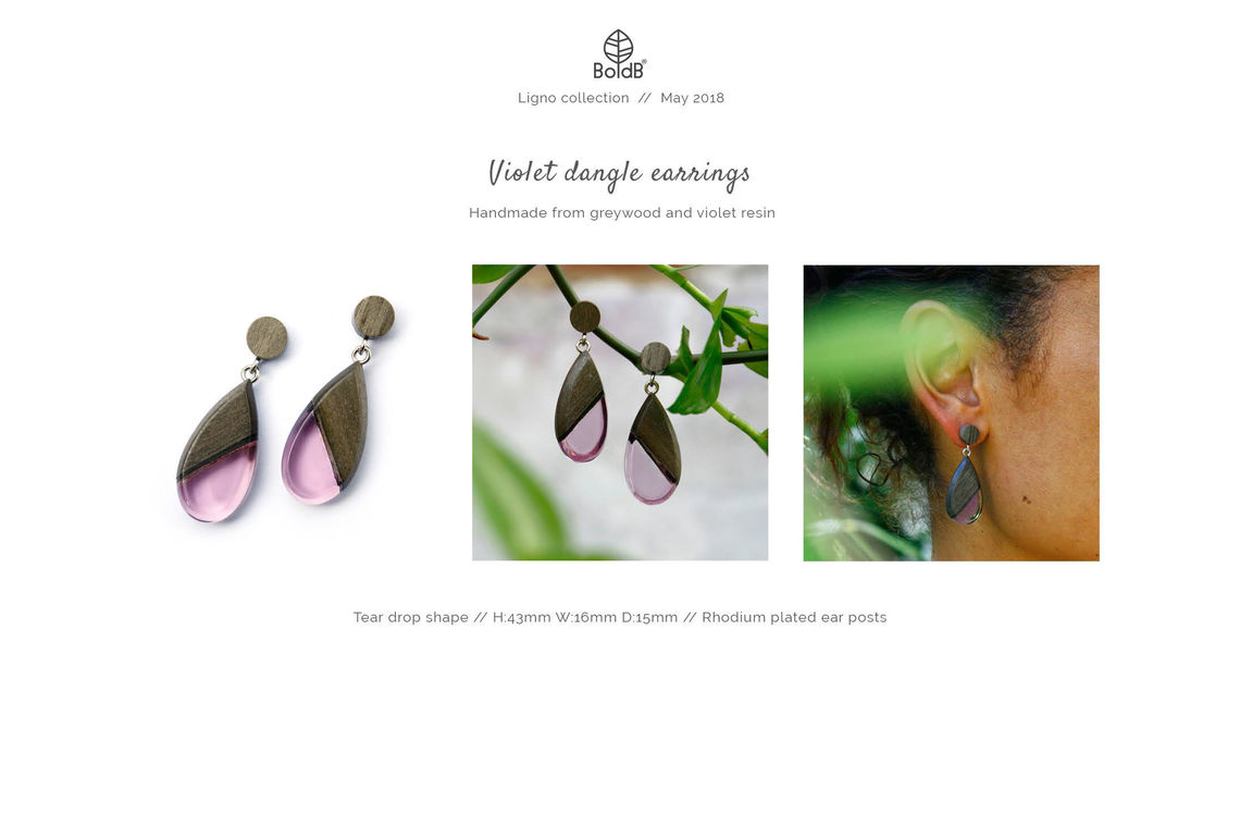 Wholesale jewellery catalogue - Wood and resin dangle earrings in violet